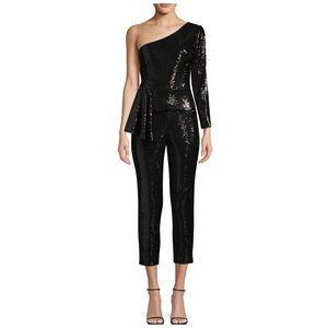 Aidan Mattox Sequin Peplum Jumpsuit In Black